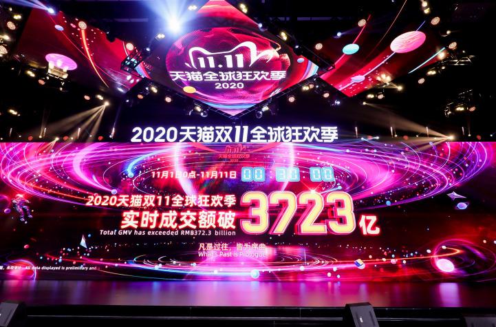 2020年天猫双11实时成交额破3723亿