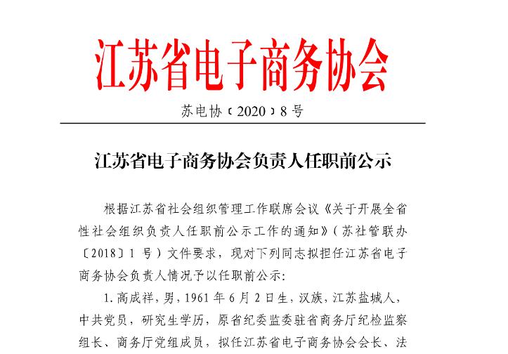 江苏省电子商务协会负责人任职前公示