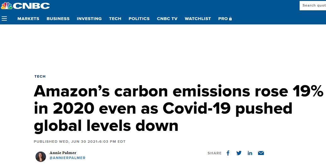 亚马逊年度可持续报告:2020年碳排放6064万公吨 同比增长15%